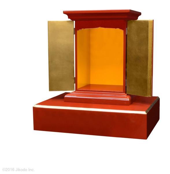 【受注生産品】朱塗り 高さ36センチの本格的小型仏壇 厨子型タイプ 台付き 木製仏具 国内自社工場制作品(商品番号11235s)