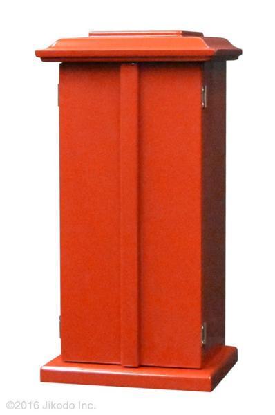【祈りの空間】角厨子当社オリジナル14号 朱塗り 高さ42センチ 安心の国内自社工場製作品(受注生産品)(商品番号10144s)