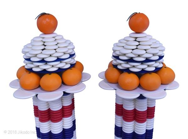 【特価品】大蔵型ニュー須弥盛 1対 みかん・橙付きセット 人気品 お得な新品!*発送まで約7営業日(商品番号9100a)