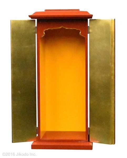 【祈りの空間】角厨子当社オリジナル17号 朱塗り 高さ51センチ 安心の国内自社工場製作品(受注生産品)(商品番号10145s)