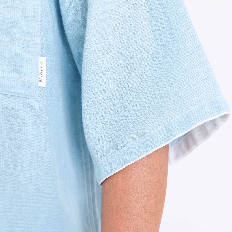 【5月17日発売】綿麻ワッフルガーゼ半袖パジャマ メンズ(6分袖・8分丈)