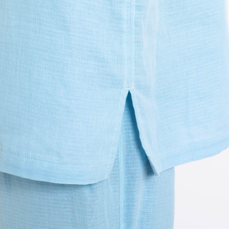 綿麻ワッフルガーゼ半袖パジャマ メンズ(6分袖・8分丈)