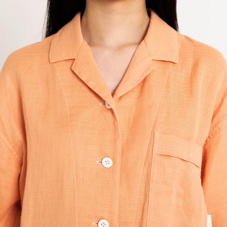 綿麻ワッフルガーゼ半袖パジャマ レディース(6分袖・8分丈)