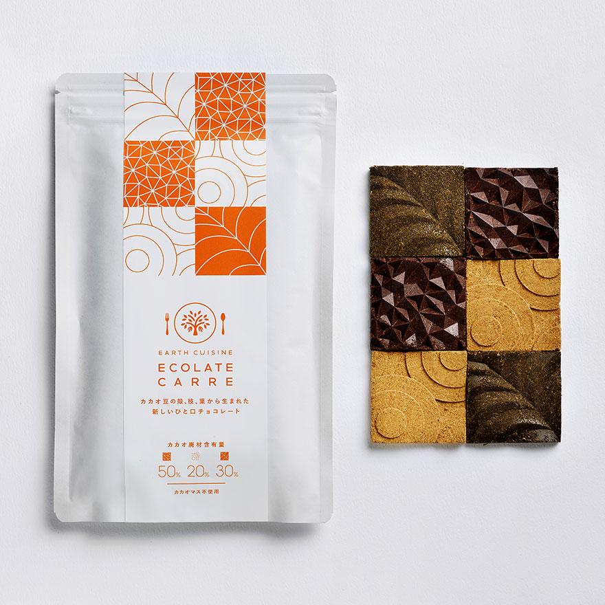 【予約販売】ECOLATE CARRE - カカオ豆の殻、枝、葉から生まれた新しいひと口チョコレート -