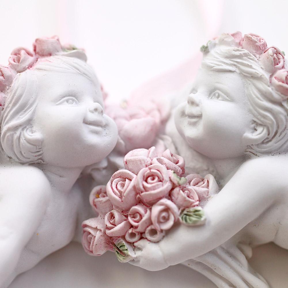 薔薇と天使のハート型オーナメント