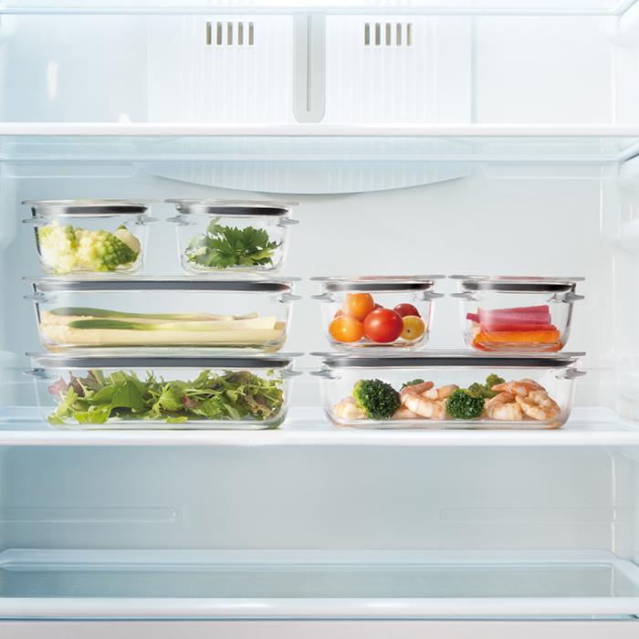 調理ができる保存容器(M:3個組 /トレーL) グレー