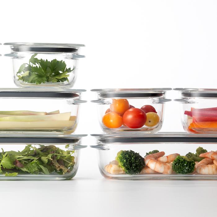 調理ができる保存容器(M:1個 / L:1個 / トレーL) グリーン