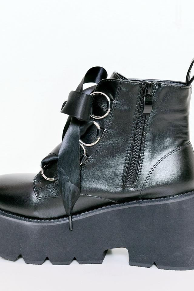 【MA*RS】サテンリボンブーツ - ブラック