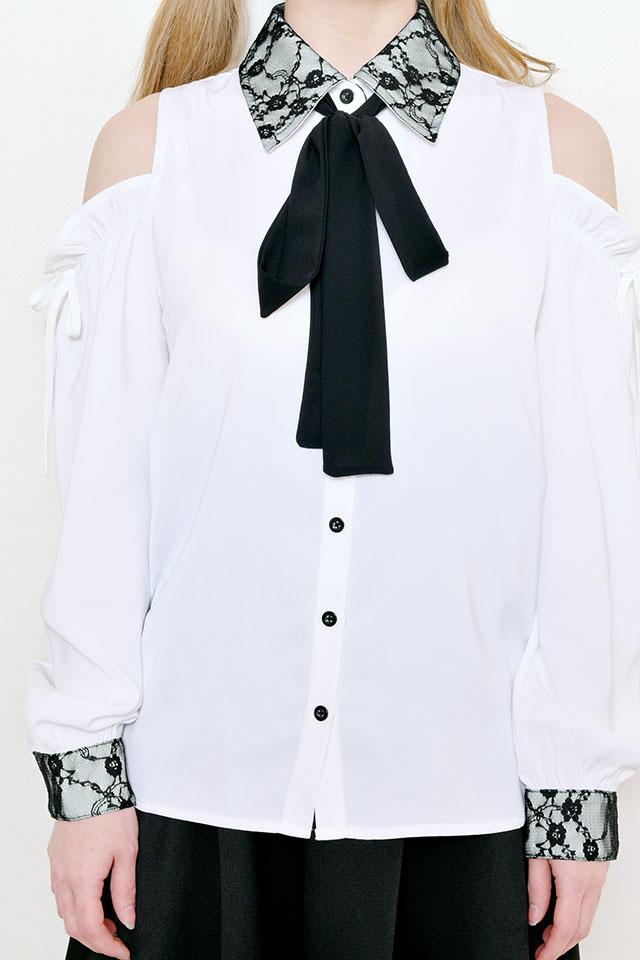 【MA*RS】肩あき襟レースブラウス - ホワイト size-F