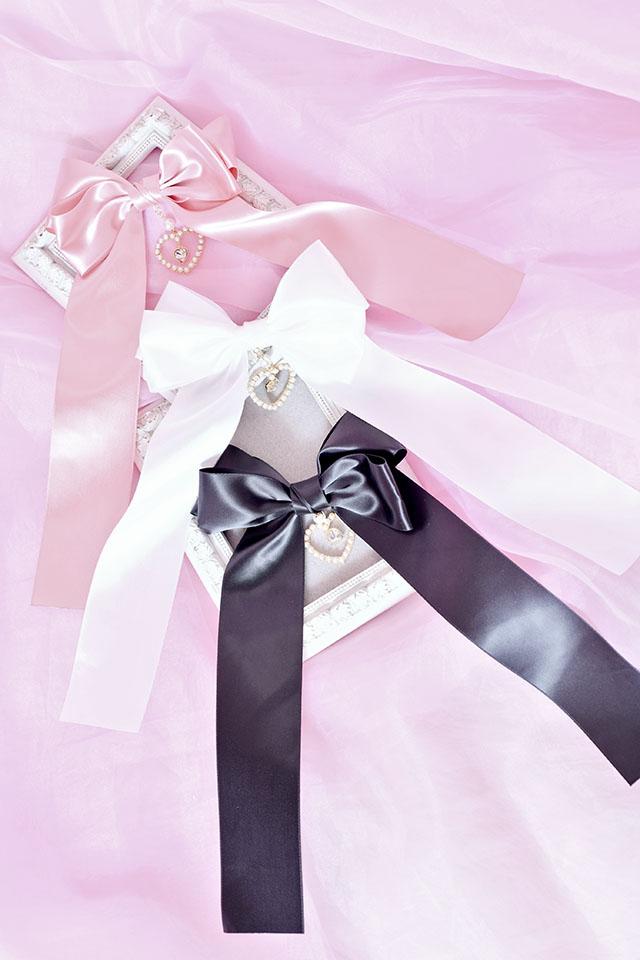 【Princess Melody】♪ゆらゆらダブルハートおりぼんクリップ♪ - ホワイト size-F