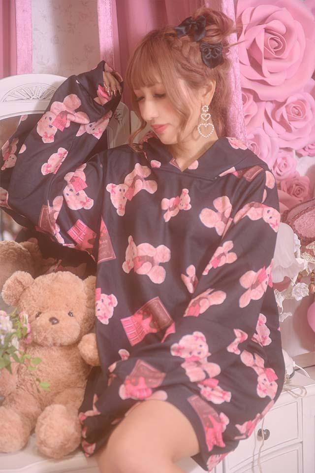 ☆34%OFF☆【Princess Melody】♪Loveチョコくまちゃんプルオーバーパーカー♪ - ブラック size-F