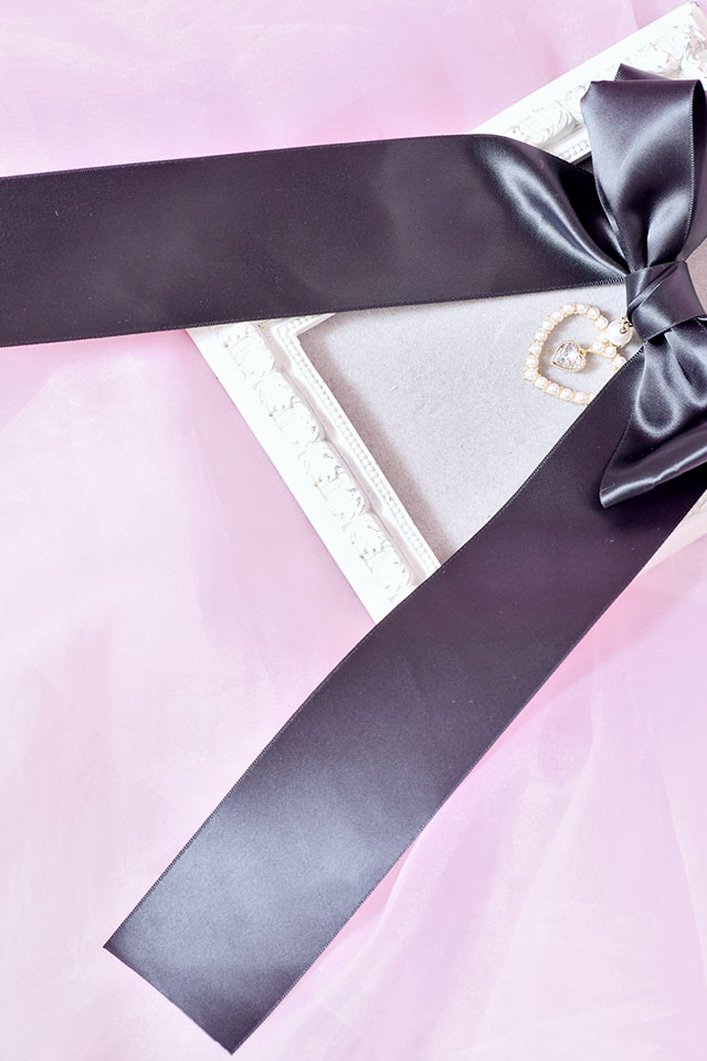 【Princess Melody】♪ゆらゆらダブルハートおりぼんクリップ♪ - ブラック size-F