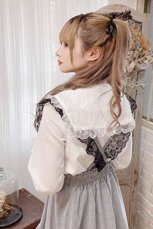 【MA*RS】三角レースブラウス - ホワイト size-F