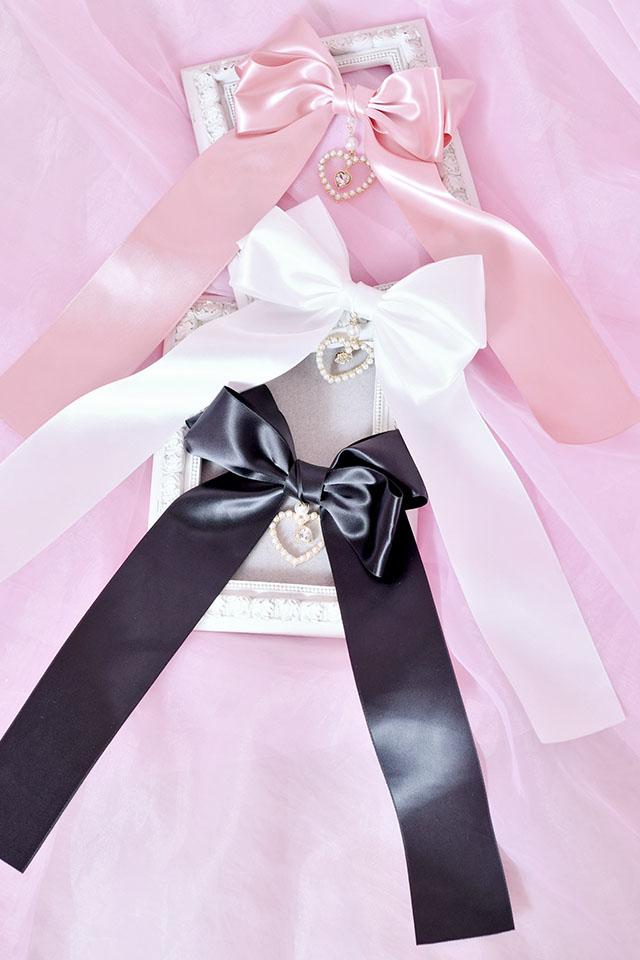 【Princess Melody】♪ゆらゆらダブルハートおりぼんクリップ♪ - ピンク size-F
