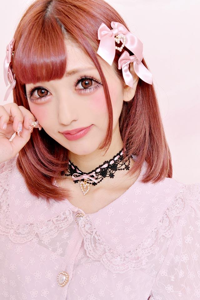 【Princess Melody】♪パールハートレースチョーカー♪ - BLK/ピンク size-F