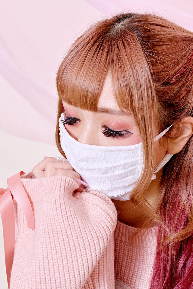 【Princess Melody】♪サイドフリル×レースプリーツマスク♪ - ホワイト size-F