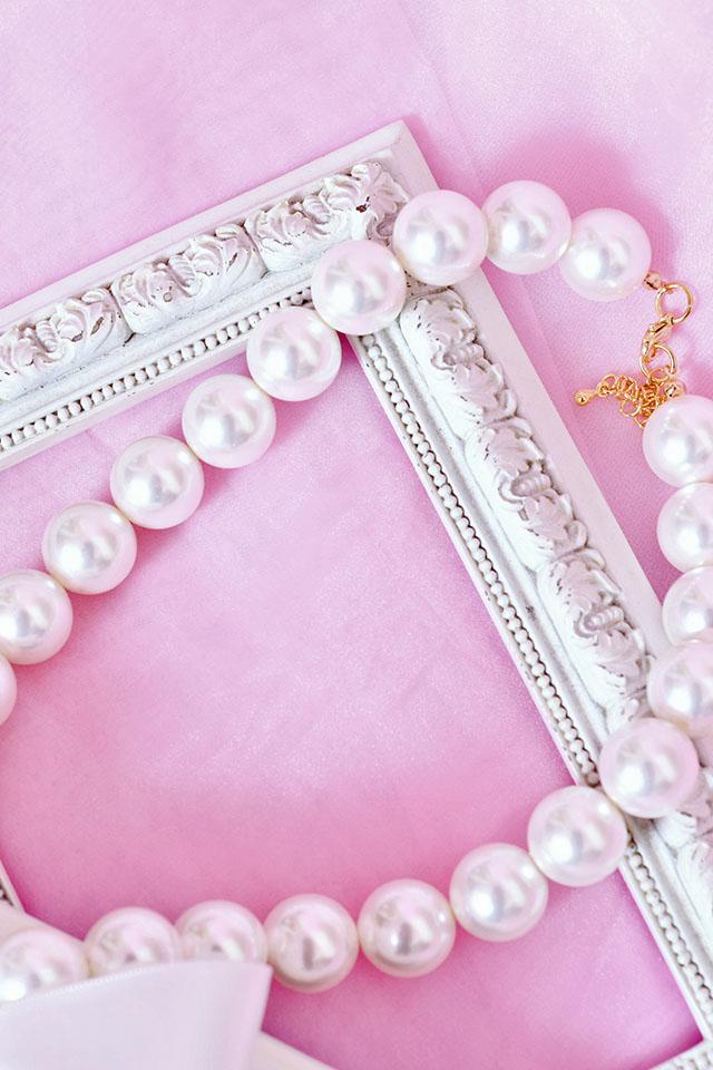 【Princess Melody】♪ゆらゆらダブルハートおりぼんネックレス♪ - ホワイト size-F