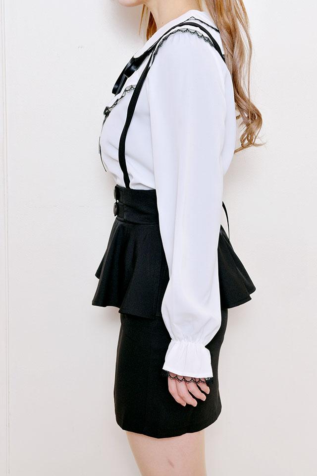 【MA*RS】バックル付ペプラムスカート - ブラック size-F
