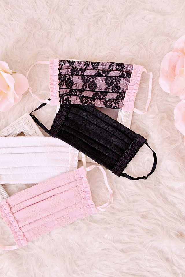 【Princess Melody】♪サイドフリル×レースプリーツマスク♪ - ピンク size-F