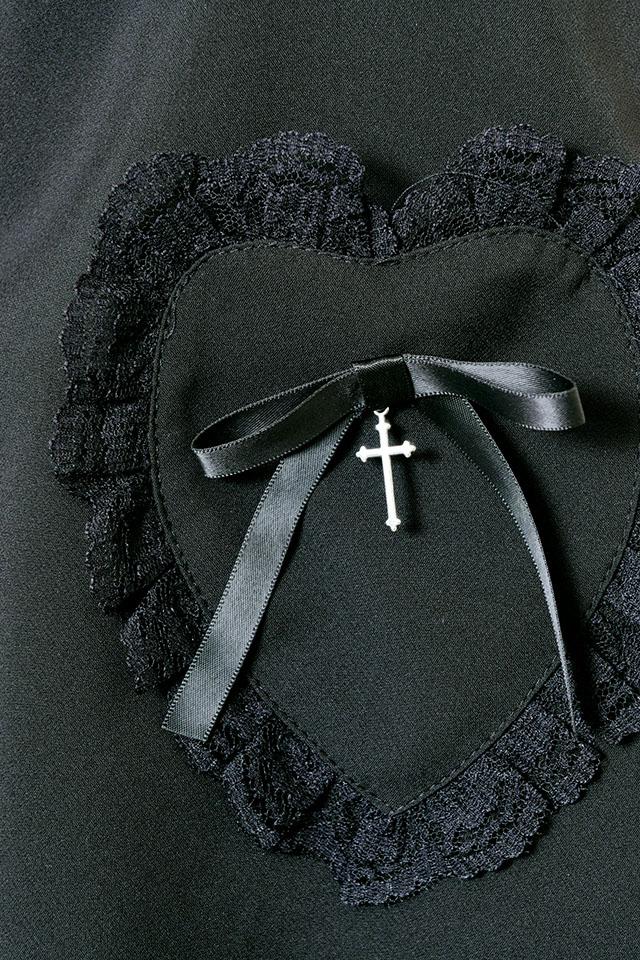 【MA*RS】リボンクロス付ハートポケットスカート - ブラック size-F