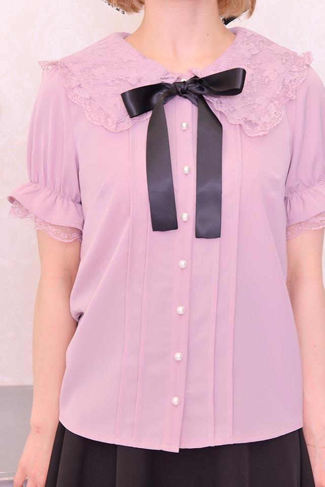 【MA*RS】三角レースブラウス - ピンク size-F
