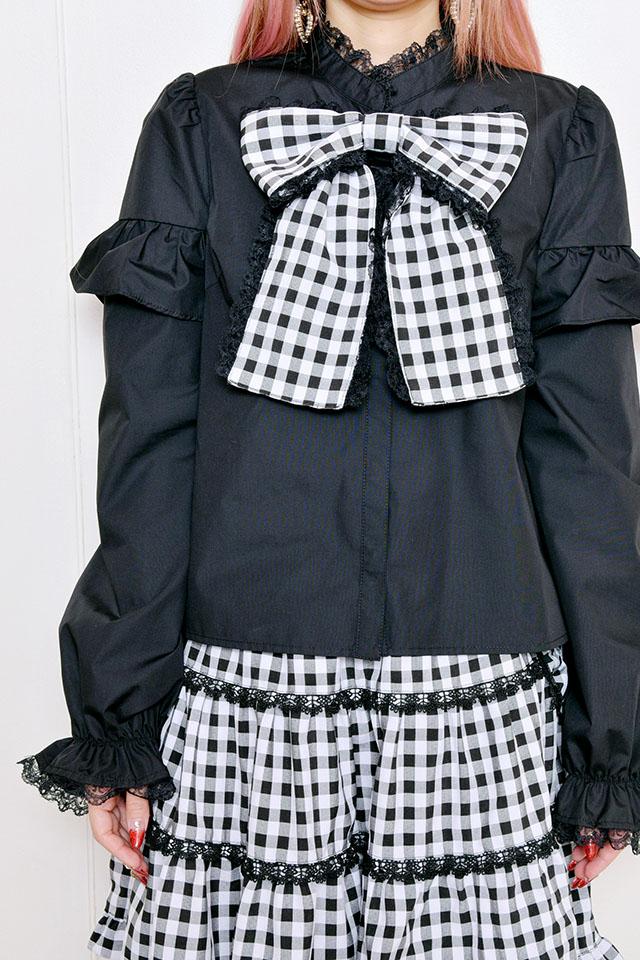 【Princess Melody】♪ギンガムチェック&無地おりぼんタイブラウス♪ - ブラック size-F