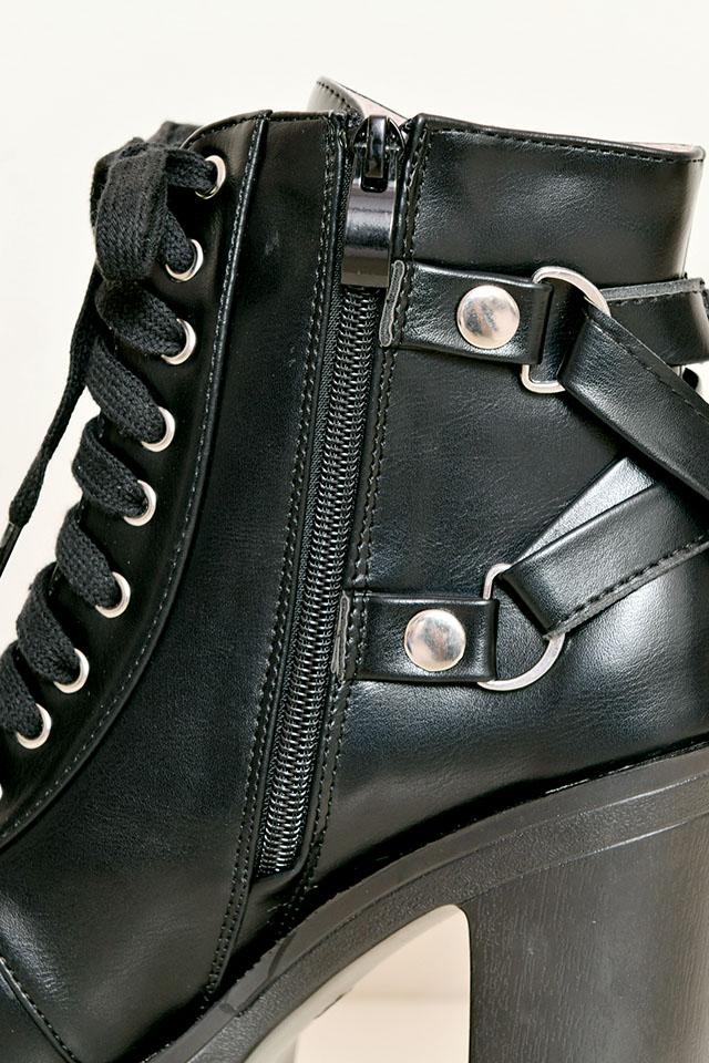 【MA*RS】バッククロスベルトショートブーツ - ブラック