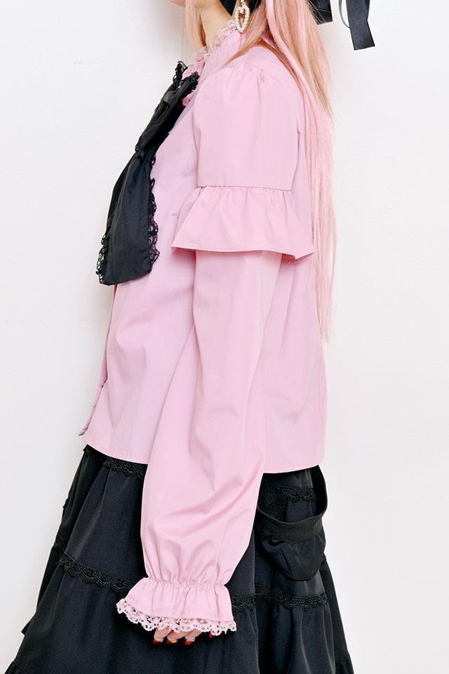 ☆34%OFF☆【Princess Melody】♪ギンガムチェック&無地おりぼんタイブラウス♪ - ピンク size-F