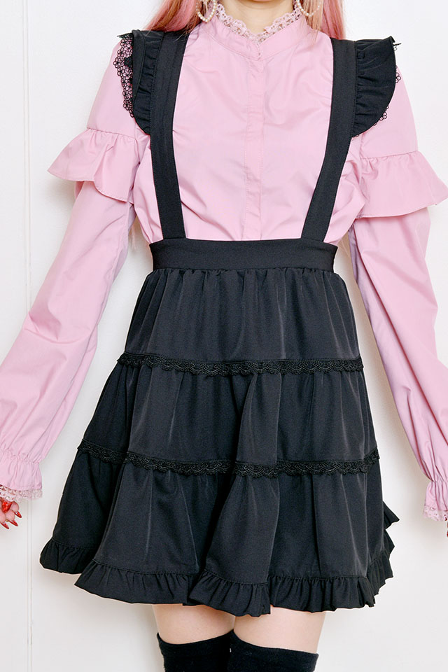 【Princess Melody】♪ギンガム&無地3段フレアジャンスカ♪ - ブラック size-F