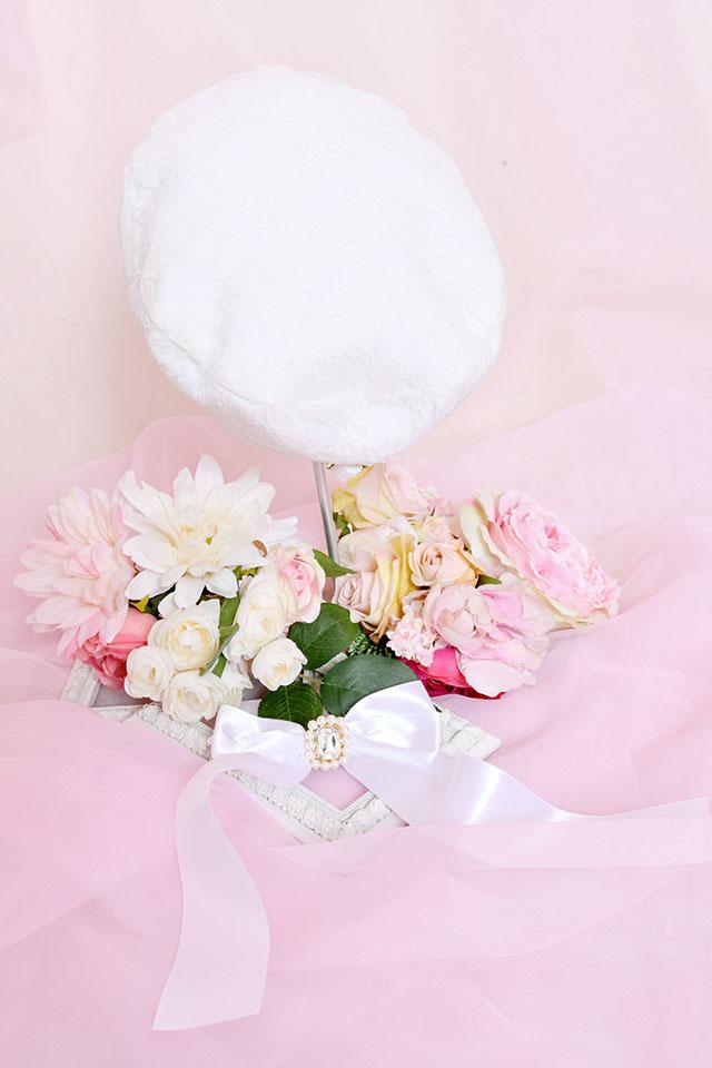 【Princess Melody】きらきらビジューおりぼんベレー帽♪ - ホワイト size-F