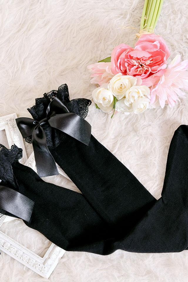 【Princess Melody】♪レース&おりぼんニーハイソックス♪ - ブラック size-F