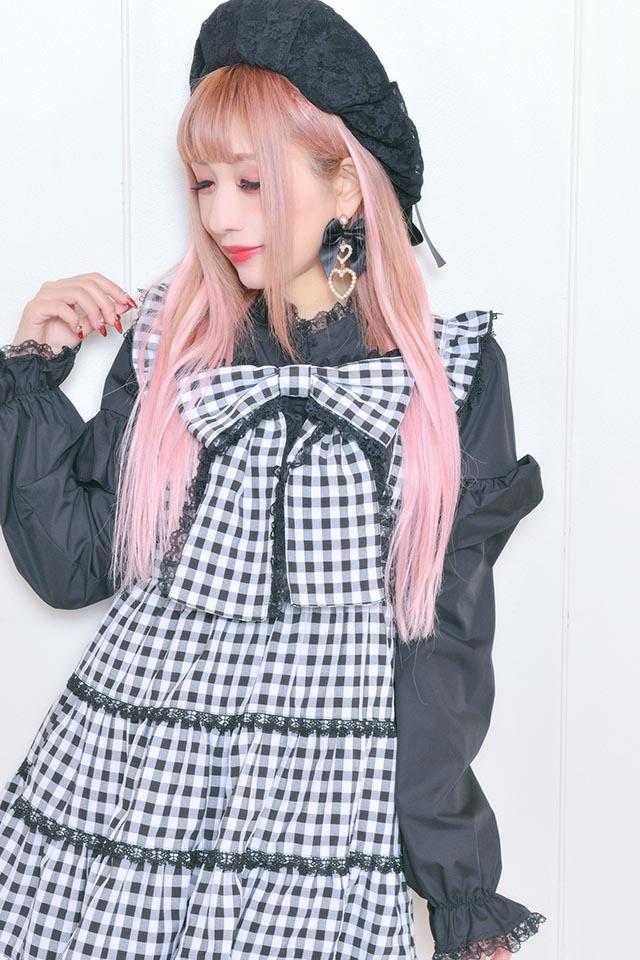 【Princess Melody】♪ギンガム&無地3段フレアジャンスカ♪ - BLK/ホワイト size-F
