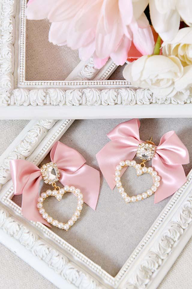 【Princess Melody】♪パールハート×ビジューおりぼんピアス♪ - ピンク size-F
