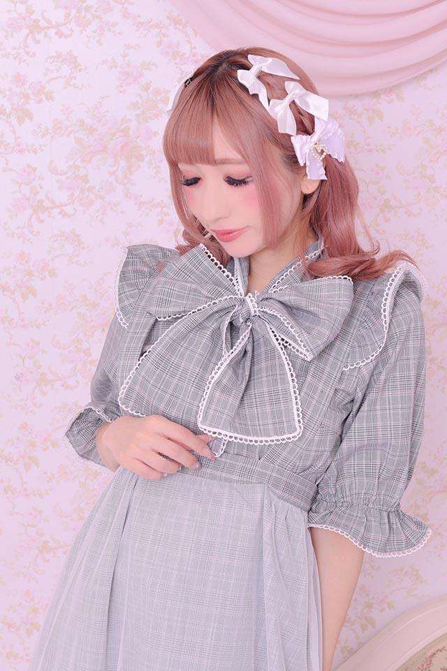 【Princess Melody】♪グレンチェックびっぐおりぼんブラウス♪ - ピンク size-F