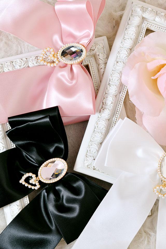 【Princess Melody】♪ゆらゆらハートビジューおりぼんクリップ♪ - ブラック size-F