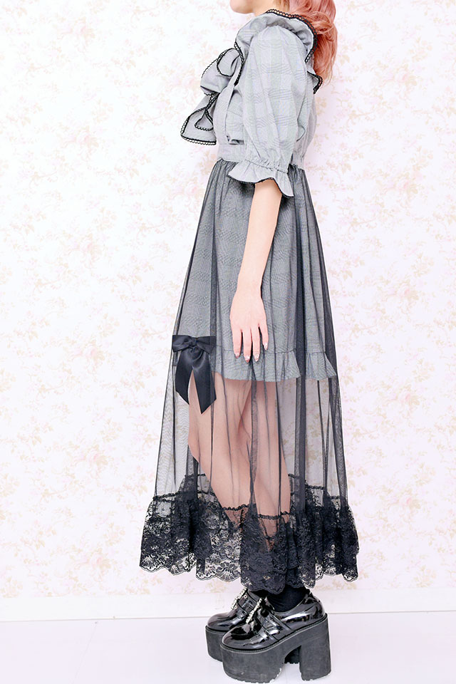 【Princess Melody】♪グレンチェック×ロングチュールジャンスカ♪ - ブラック size-F