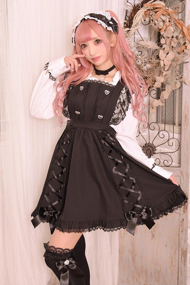 【Princess Melody】♪パールハートおりぼんチョーカー♪ - ブラック size-F