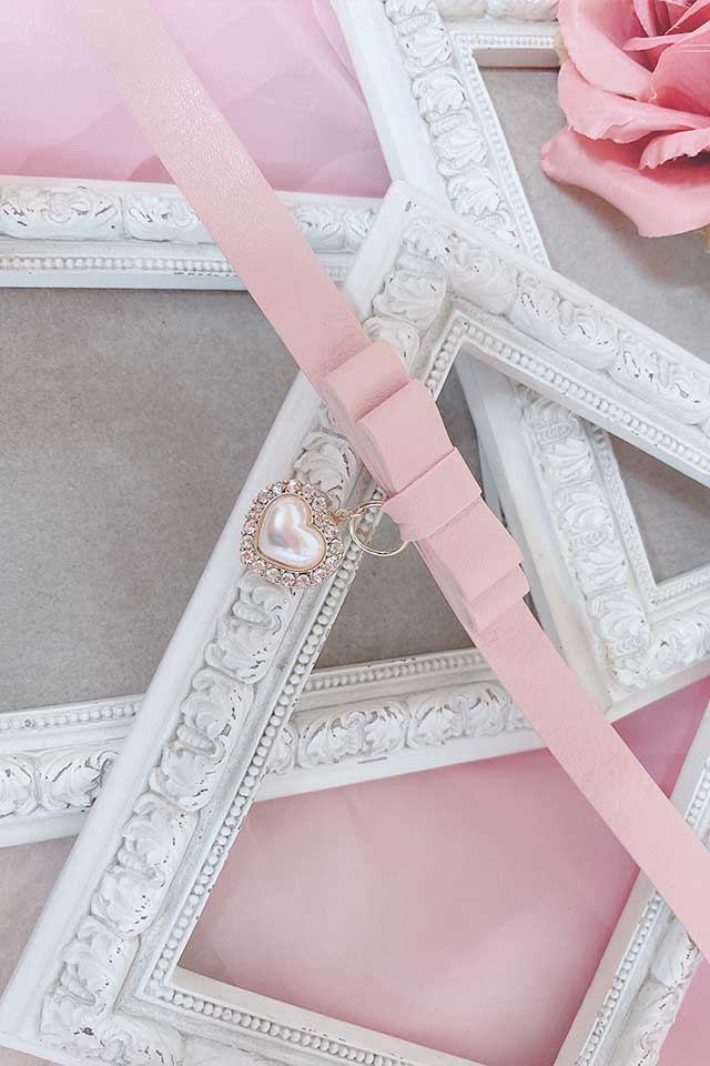 【Princess Melody】♪パールハートおりぼんチョーカー♪ - ピンク size-F