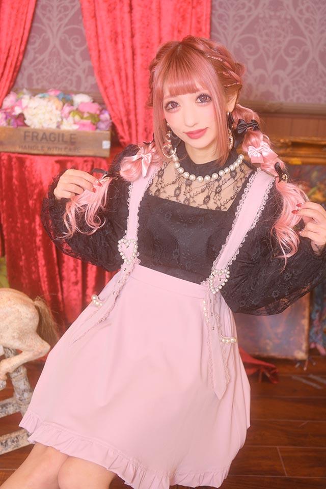 ☆28%OFF☆【Princess Melody】♪BIGパール×レース重ねTOPS♪ - ブラック size-F