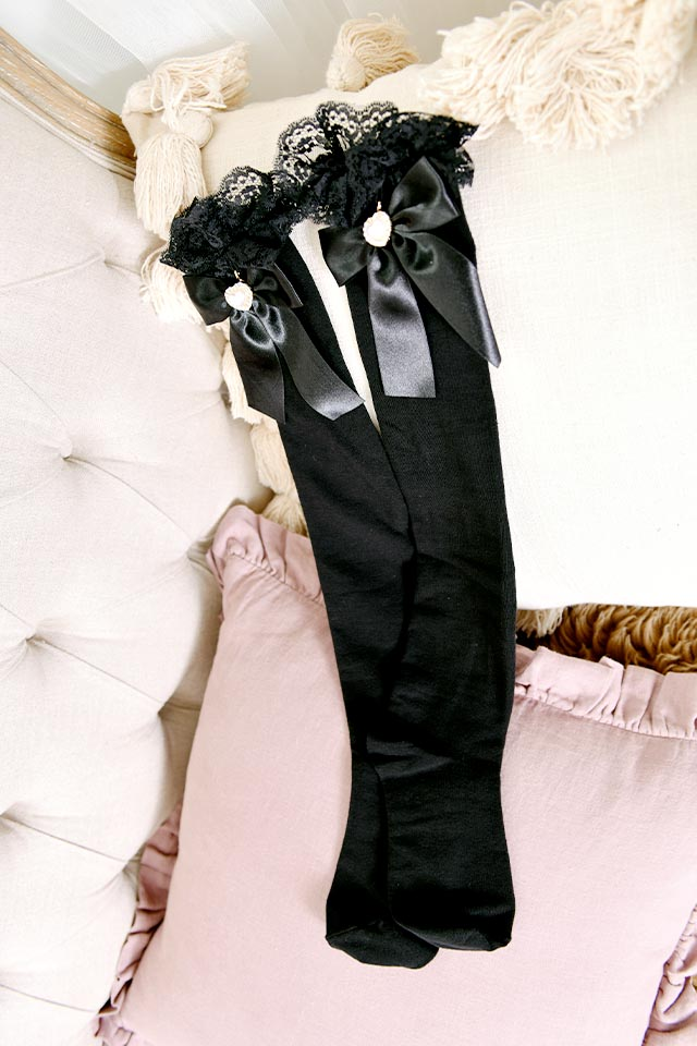 【Princess Melody】♪きらきらパールハート付きニーハイ♪ - ブラック size-F