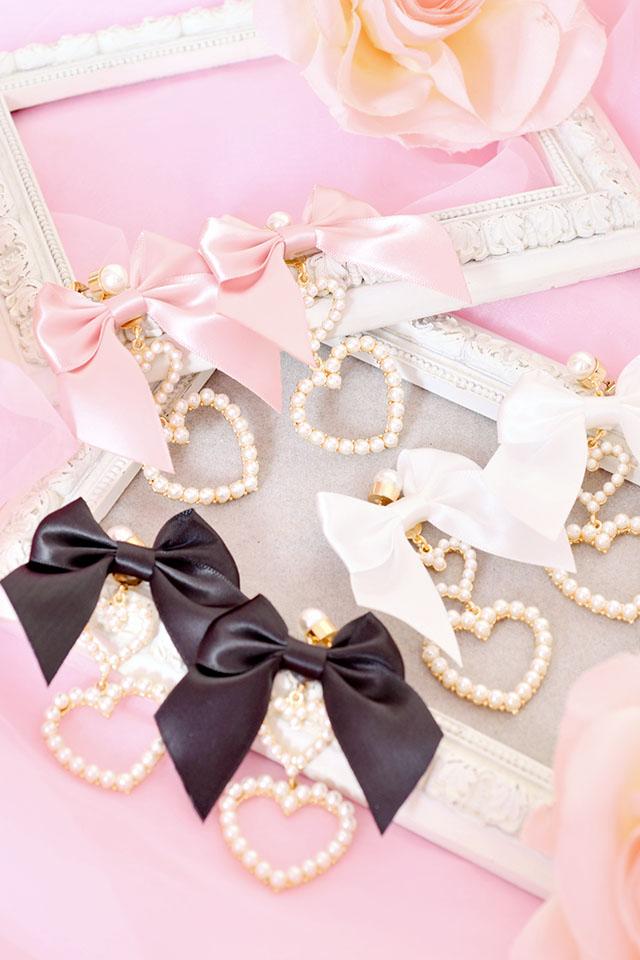 【Princess Melody】♪ダブルハート×おりぼんピアス♪ - ホワイト size-F