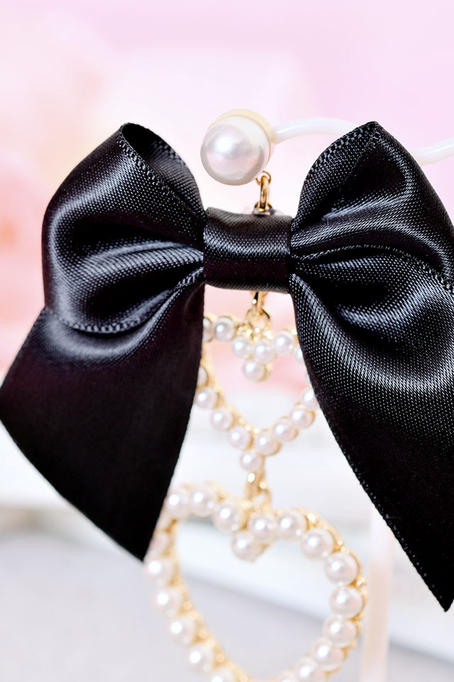 【Princess Melody】♪ダブルハート×おりぼんピアス♪ - ブラック size-F
