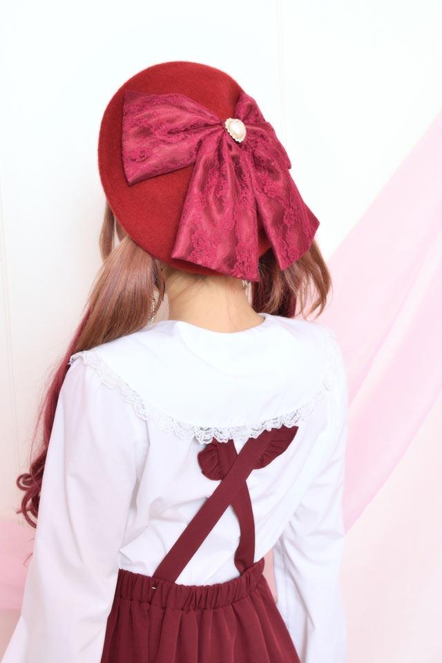 【Princess Melody】♪びっくレースおりぼんベレー帽♪ - ワインレッド size-F