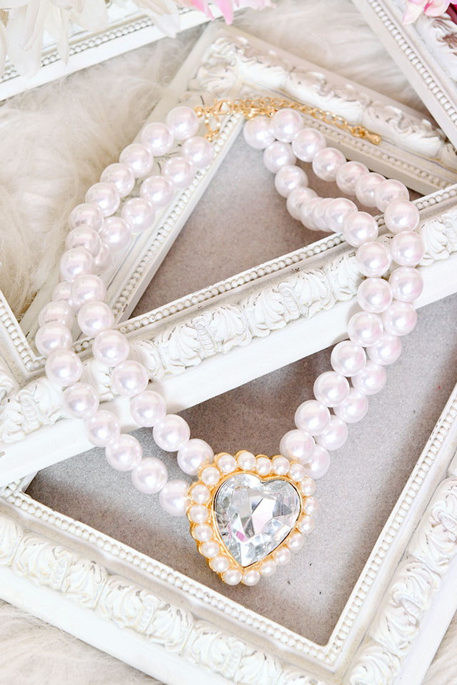 【Princess Melody】♪きらきらハートビジュー2連パールチョーカー♪ - ホワイト size-F