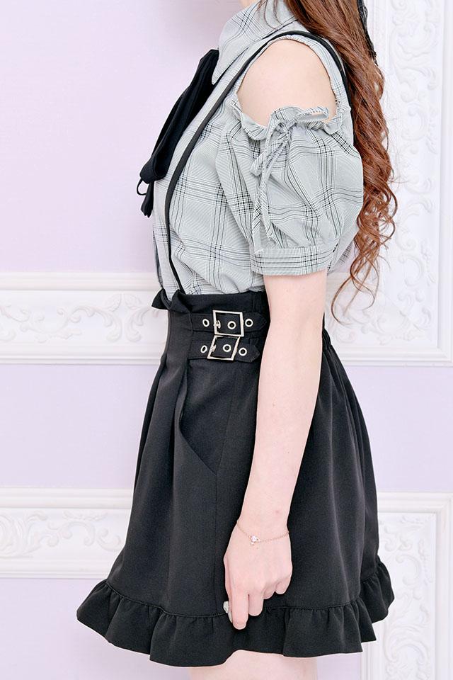 【MA*RS】Wバックルプリーツショートパンツ - ブラック size-F