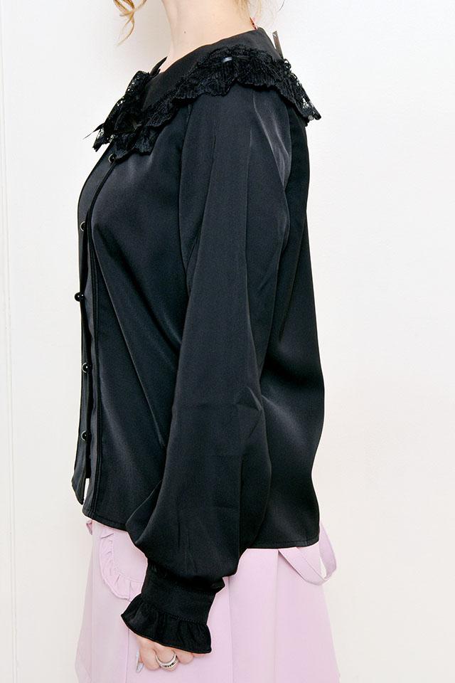 【MA*RS】はしごレース襟リボンブラウス - ブラック size-F