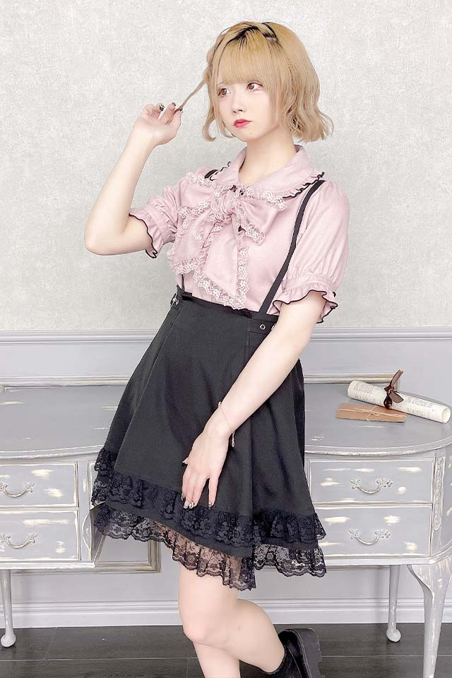 【MA*RS】サイドハートバックル裾レーススカート - ブラック size-F