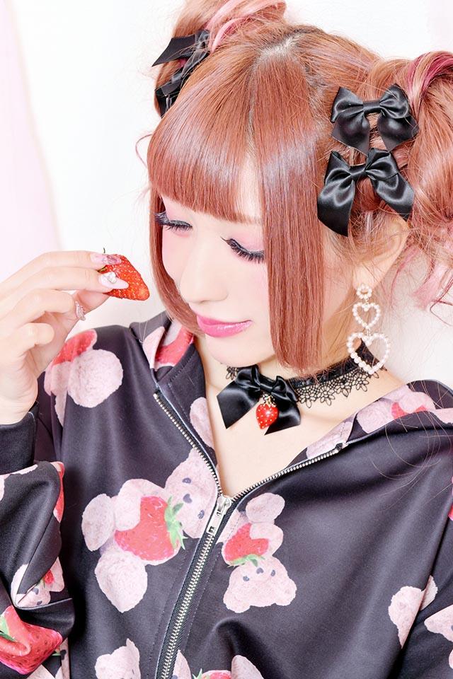 【Princess Melody】♪いちごおりぼんチョーカー♪ - ブラック size-F