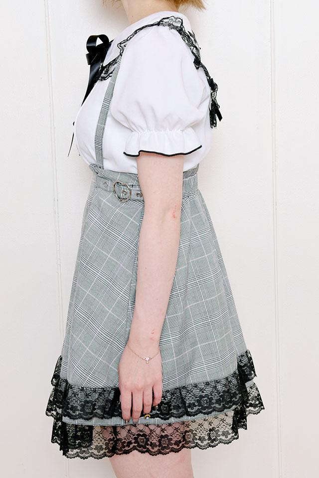 【MA*RS】サイドハートバックル裾レーススカート - BLK/ホワイト size-F