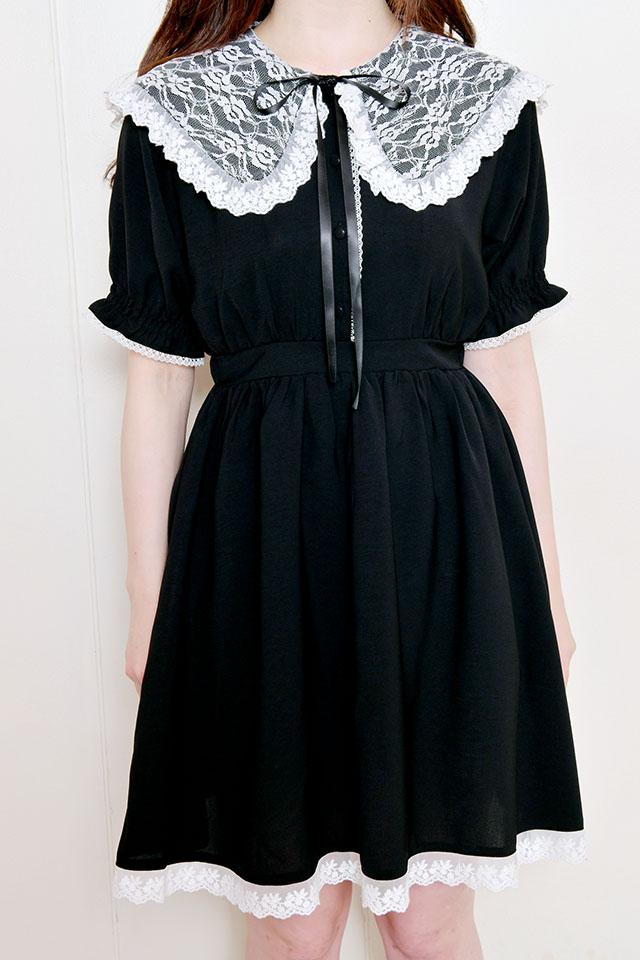 【MA*RS】レースセーラー衿フレアワンピ - ブラック size-F